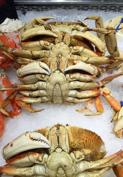 Fresh (not frozen) Oregon crabs at Whole Foods Market