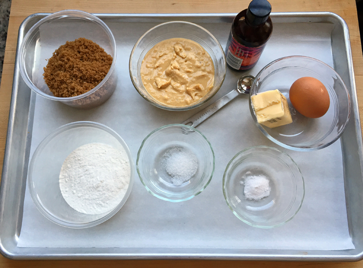 Mise en place for the peanut cookie/crust layer: note the homemade peanut butter
