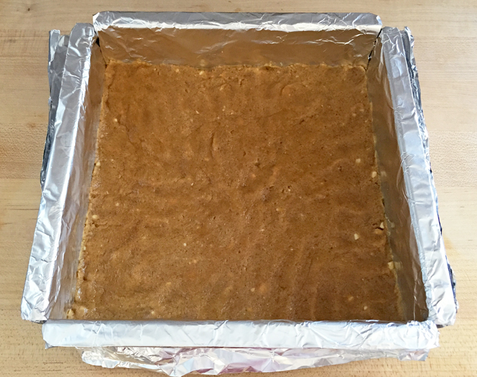 Peanut crunch layer, pressed into the pan: Needed extra baking time in my oven