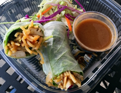 Tofu Spring Rolls from Box's cold case: tofu, vegetables, rice noodles in a rice paper wrapper. Served with cabbage salad and dipping sauce.