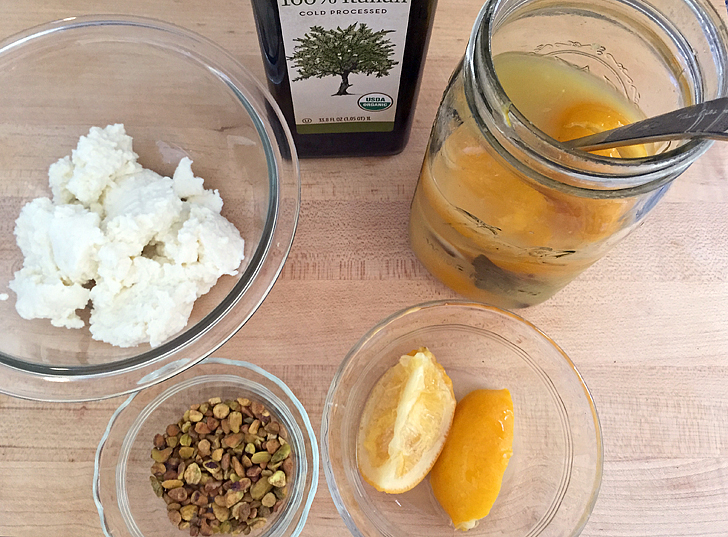 Fresh sheep's milk ricotta, olive oil, 30-day preserved lemons, toasted pistachios