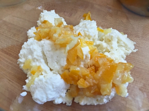 Add chopped perserved lemon to the ricotta