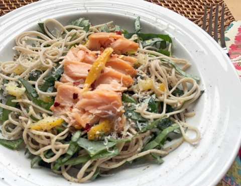 Soba Noodles with Fava Leaves, Hot Smoked Salmon, and Preserved Lemon