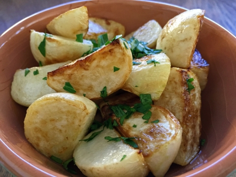 Sauteed Tokyo turnips with fresh parsley