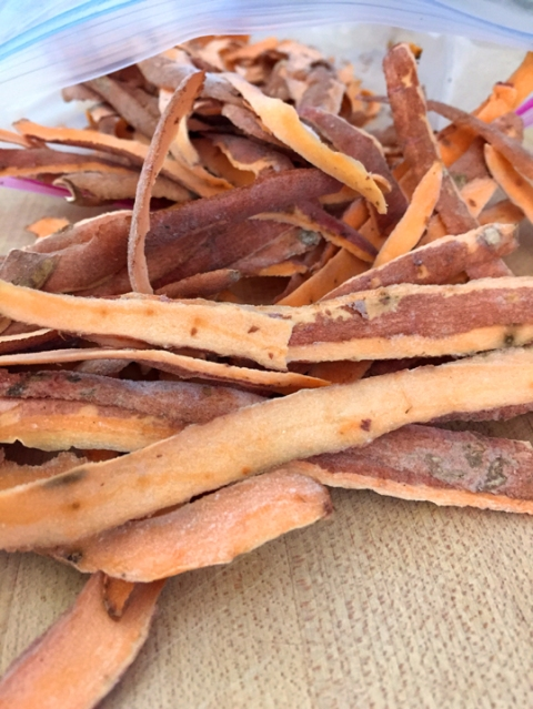 My collection of sweet potato peels from the past two weeks