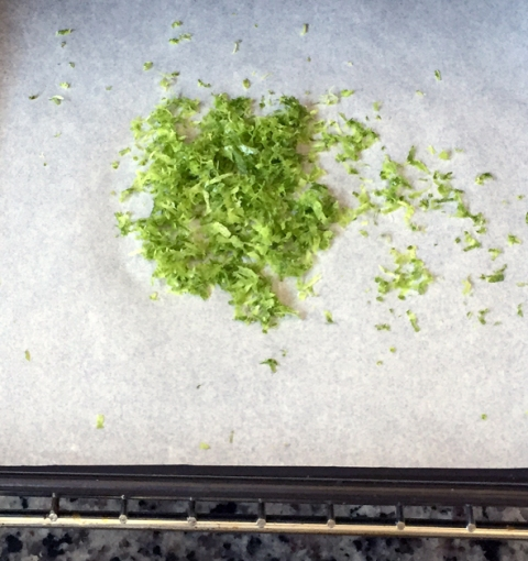 Fresh lime zest, ready for drying