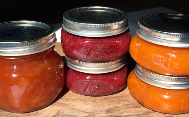 From left to right: Ruby Grapefruit and Rosemary Marmalade, Honey Strawberry Jam, Apricot Butter