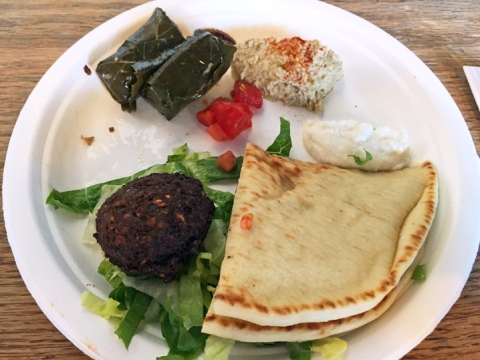 Vegetarian sampler plate at Jaffa Café