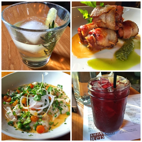 At Luna Red: Smoke and Mirrors cocktail, Bacon-Wrapped Dates, Sangria, Rockfish Ceviche (clockwise from upper-left)
