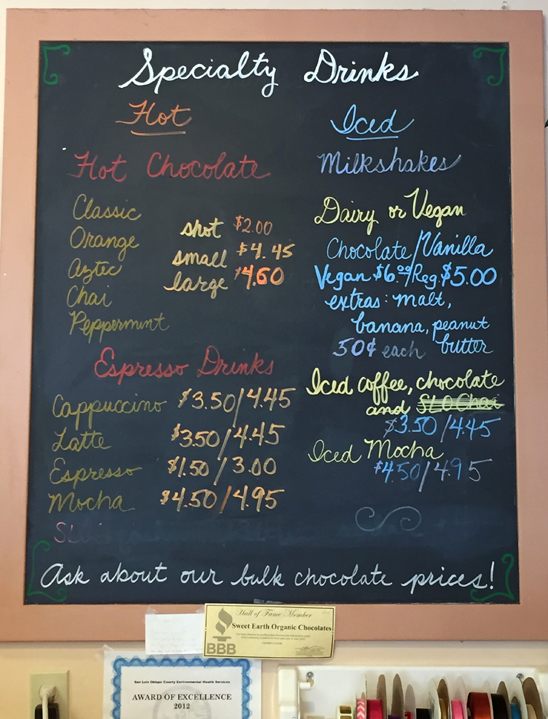 Sit and sip awhile: the drinks menu at Mama Ganache Artisan Chocolates in San Luis Obispo