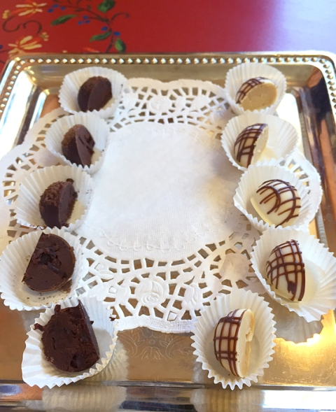 Truffle samples at Mama Ganache