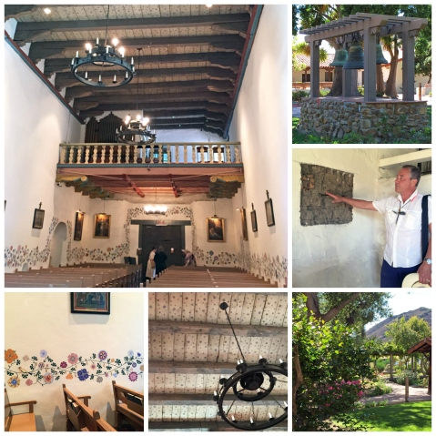 Clockwise from upper-left: Interior of the church at Mission San Luis Obispo Tolosa; mission bells, Yule explains how the walls are structured to withstand earthquakes, mission gardens, stars on the church ceiling, handpainted flowers cover the walls