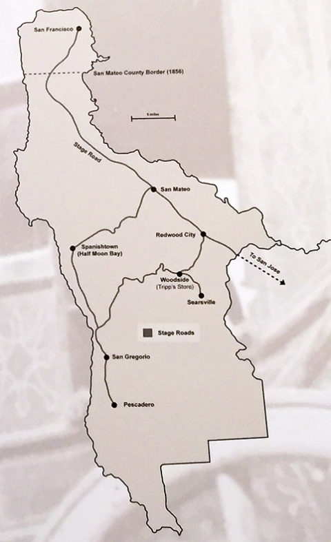 Map from the San Mateo County Museum's exhibit on The First Roads