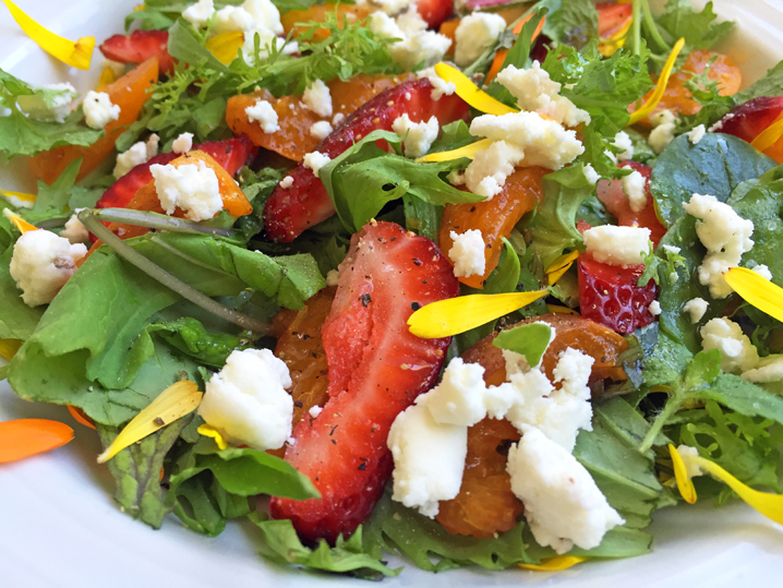 Local Summer Salad: My backyard apricots, Fifth Crow Farms greens and berries, Harley Goat Farms Dairy chèvre