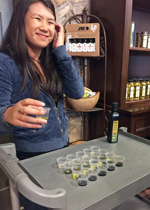 Sampling olive oils and vinegars at We Olive