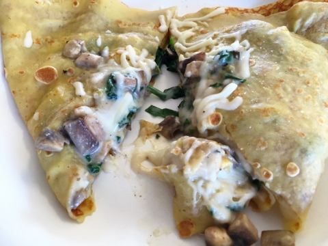 Gluten-free crepe at Mon Ami Creperie Cafe in Pismo Beach: sauteed spinach, mushrooms, and cheesy goodness